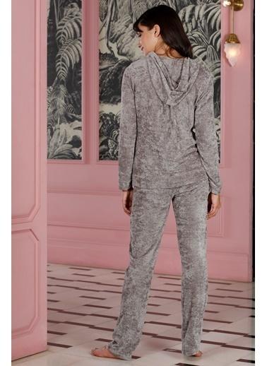 Hays Rebel Kadın Parlak Uzun Pijama Takımı Vizon